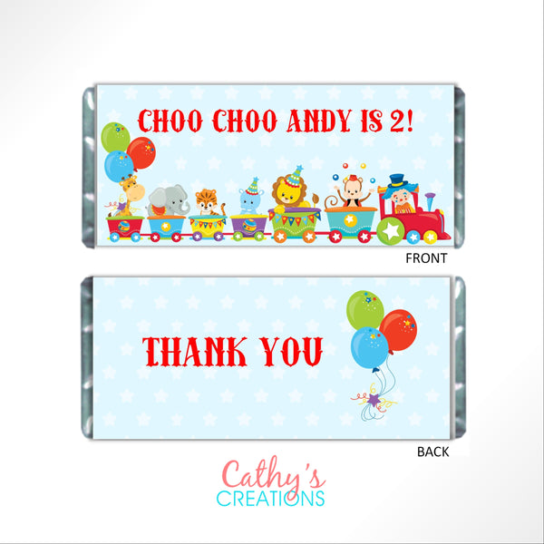 Circus Train Animal Candy Wrapper-Candy Bar Wrapper-Cathy's Creations - www.candywrappershop.com