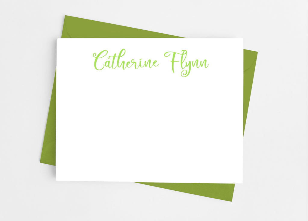 Personalized Stationery Flat Note Cards - Playful Flourish - Cathy's Creations - www.candywrappershop.com