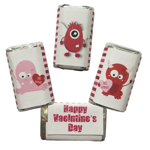 Valentine's Day Monster Mini Mini Candy Bar Wrapper- Cathy's Creations - www.candywrappershop.com