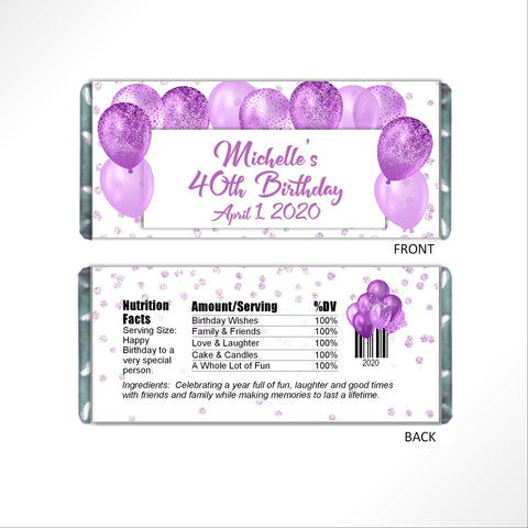 Purple Balloons Candy Bar Wrapper-Candy Bar Wrapper-Cathy's Creations - www.candywrappershop.com