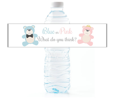 Teddy Bear Gender Reveal Water Bottle Labels - Cathy's Creations - www.candywrappershop.com