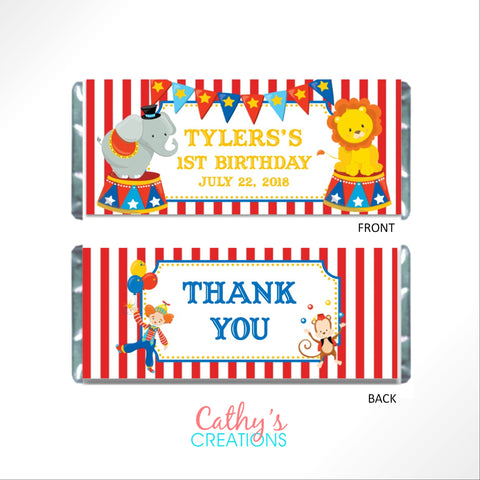 Circus Candy Bar Wrapper - Cathy's Creations - www.candywrappershop.com