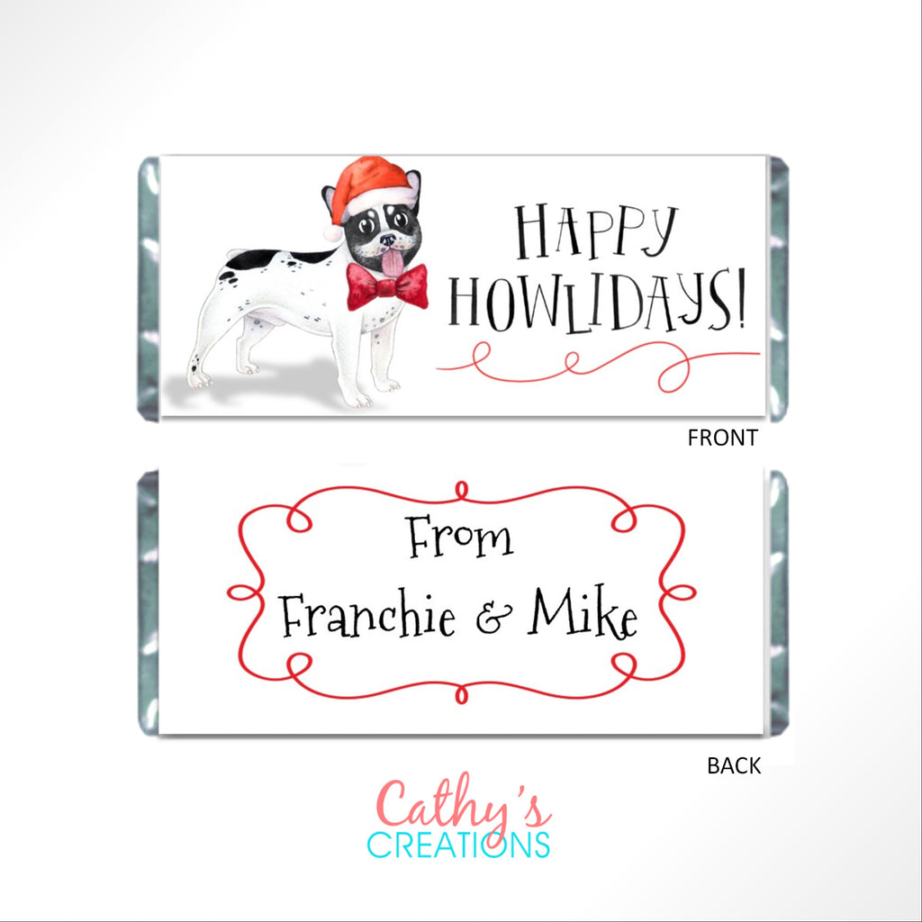 Christmas French Bulldog Candy Bar Wrapper - Cathy's Creations - www.candywrappershop.com
