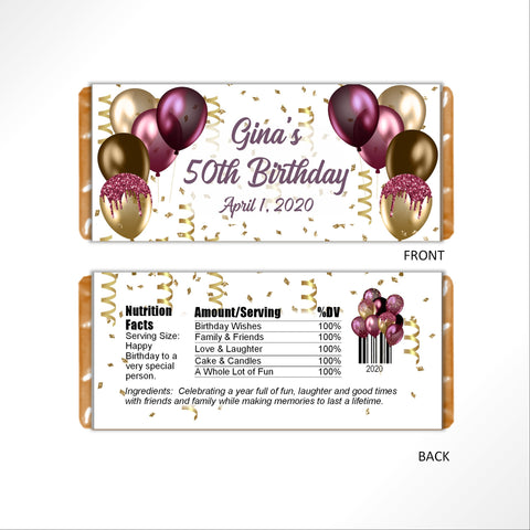 Burgandy and Gold Balloons Candy Bar Wrapper - Cathy's Creations - www.candywrappershop.com