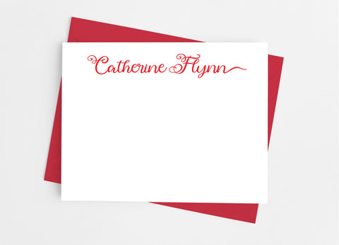 Personalized Stationery Flat Note Cards - Flourish Script Flat Stationery Cards- Cathy's Creations - www.candywrappershop.com