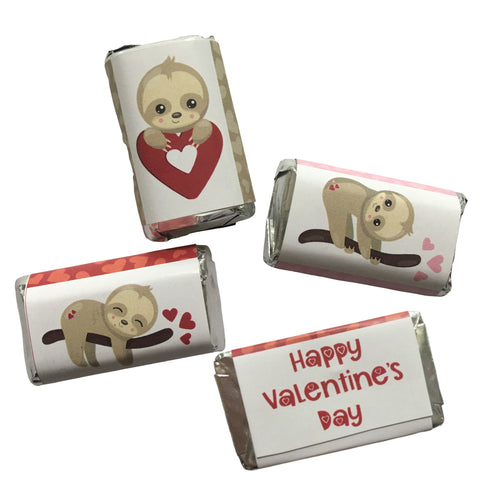 Valentine's Day Sloth Mini Mini Candy Bar Wrapper- Cathy's Creations - www.candywrappershop.com