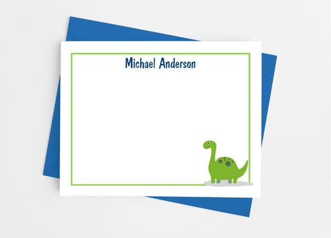 Dinosaur Personalized Flat Note Cards Flat Stationery Cards- Cathy's Creations - www.candywrappershop.com