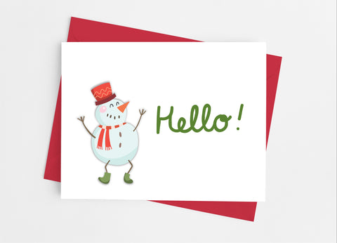 Snowman Hello Note Cards - Cathy's Creations - www.candywrappershop.com