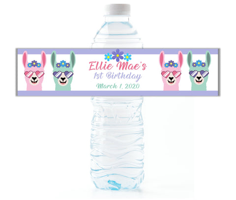 Llama Girl Water Bottle Labels - Cathy's Creations - www.candywrappershop.com