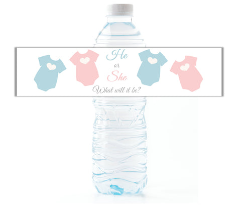 Baby Bodysuit Gender Reveal Water Bottle Labels - Cathy's Creations - www.candywrappershop.com