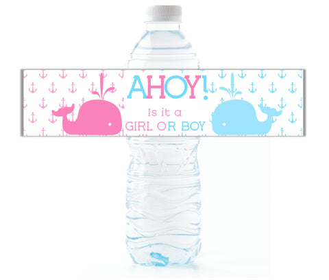 Nautical Whale Gender Reveal Water Bottle Labels - Cathy's Creations - www.candywrappershop.com
