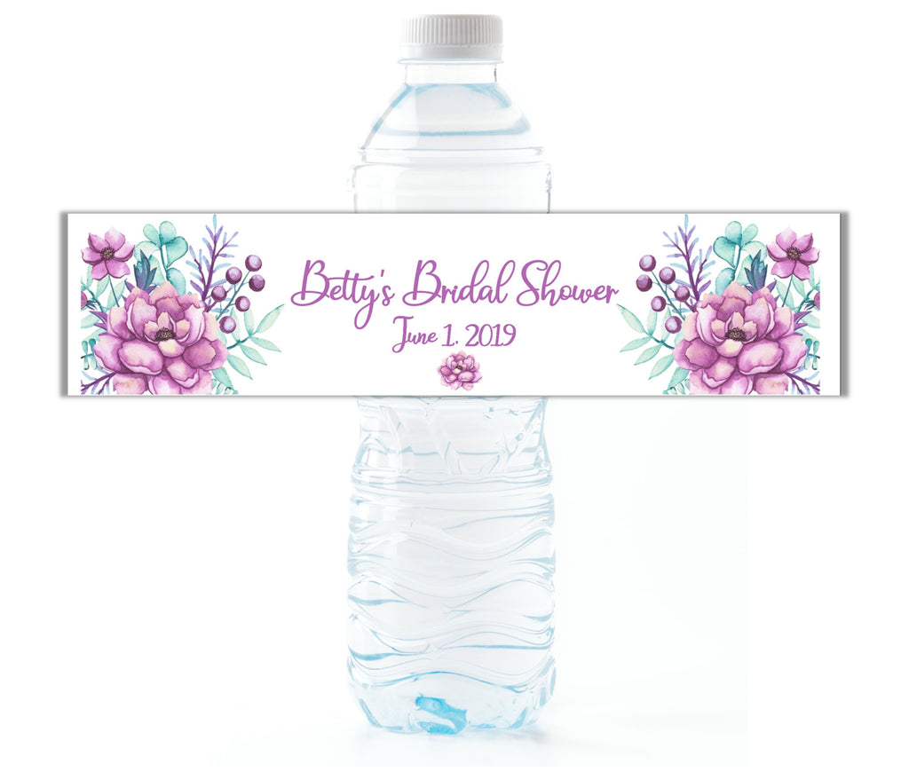 Purple Floral Water Bottle Labels-Water Bottle Labels-Cathy's Creations - www.candywrappershop.com