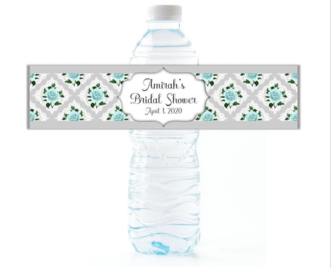 Mint Floral Water Bottle Labels - Cathy's Creations - www.candywrappershop.com