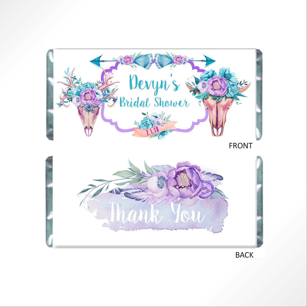 Floral Boho Skull Candy Bar Wrapper - Cathy's Creations - www.candywrappershop.com