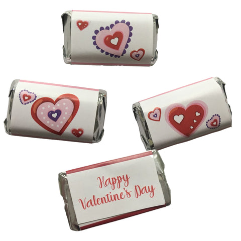 Valentine's Day Heart Minis Mini Candy Bar Wrapper- Cathy's Creations - www.candywrappershop.com