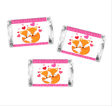 Valentine's Day Fox Mini Candy Wrappers-Mini Candy Bar Wrapper-Cathy's Creations - www.candywrappershop.com
