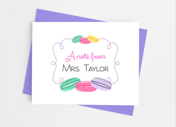 French Macaroon Note Cards - Cathy's Creations - www.candywrappershop.com