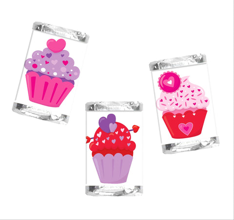 Valentine's Day Cupcake Mini Candy Wrappers-Mini Candy Bar Wrapper-Cathy's Creations - www.candywrappershop.com