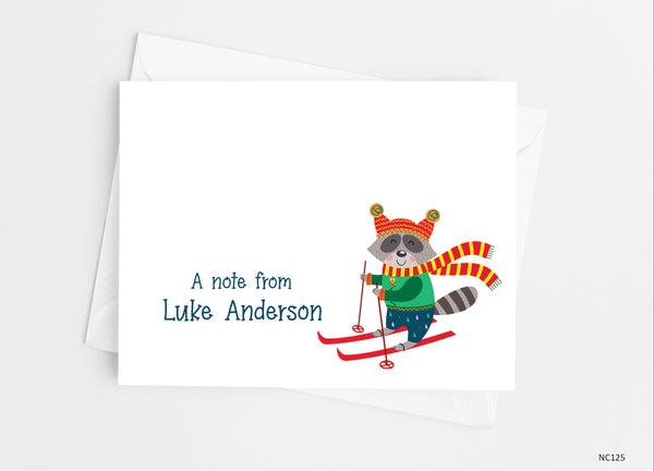 Raccoon Ski Note Cards - Cathy's Creations - www.candywrappershop.com
