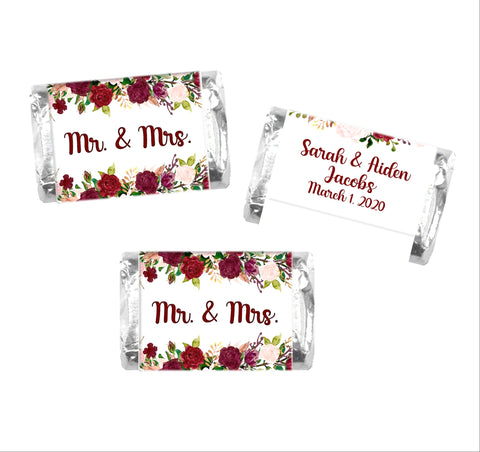 Fall Floral Wedding Mini Candy Bar Wrappers - Cathy's Creations - www.candywrappershop.com