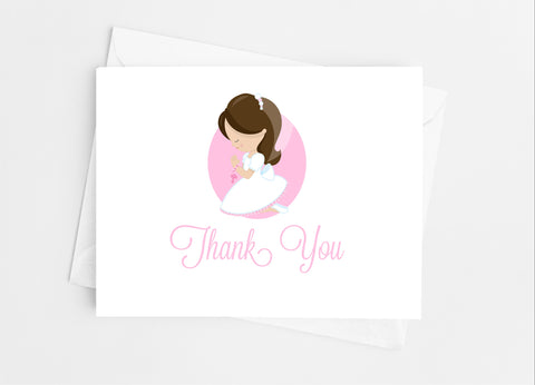 Communion Girl Thank You Cards-Note Cards-Cathy's Creations - www.candywrappershop.com