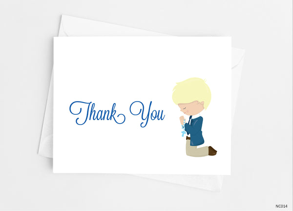 Communion Boy Thank You Cards Note Cards- Cathy's Creations - www.candywrappershop.com