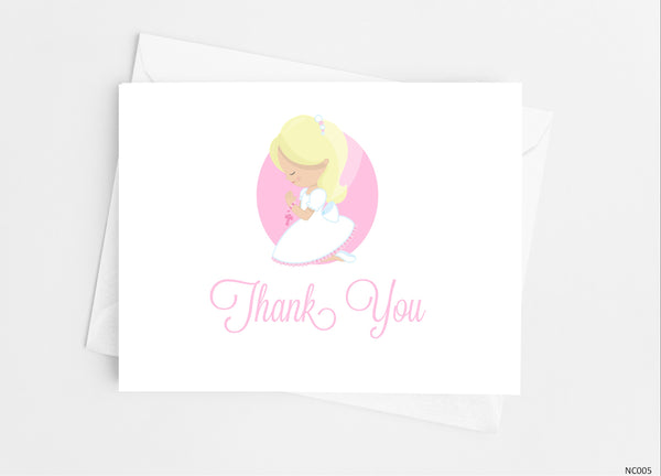 Communion Girl Thank You Cards Note Cards- Cathy's Creations - www.candywrappershop.com