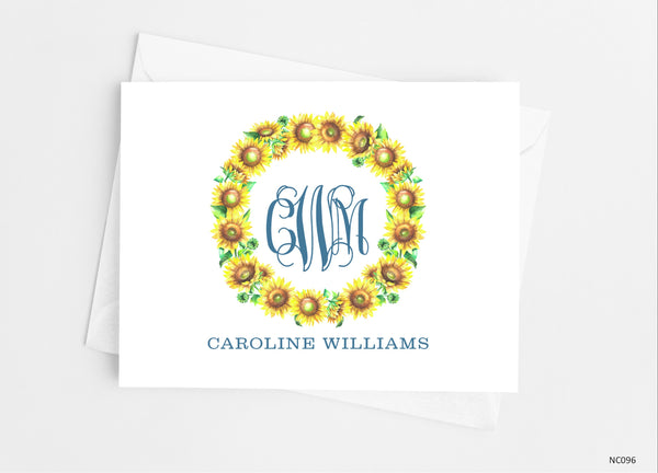 Sunflower Floral Monogram Note Cards - Cathy's Creations - www.candywrappershop.com