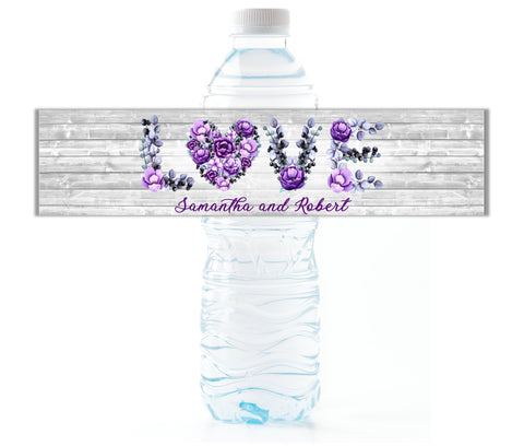Rustic Purple Succulent Love Water Bottle Labels - Cathy's Creations - www.candywrappershop.com