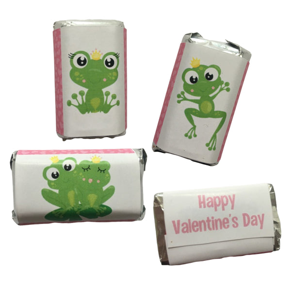 Valentine's Day Frog Mini Candy Wrappers-Mini Candy Bar Wrapper-Cathy's Creations - www.candywrappershop.com