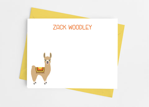 Llama Boy Flat Note Cards-Flat Stationery Cards-Cathy's Creations - www.candywrappershop.com