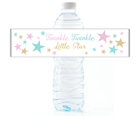 Twinkle Little Star Gender Reveal Water Bottle Labels - Cathy's Creations - www.candywrappershop.com
