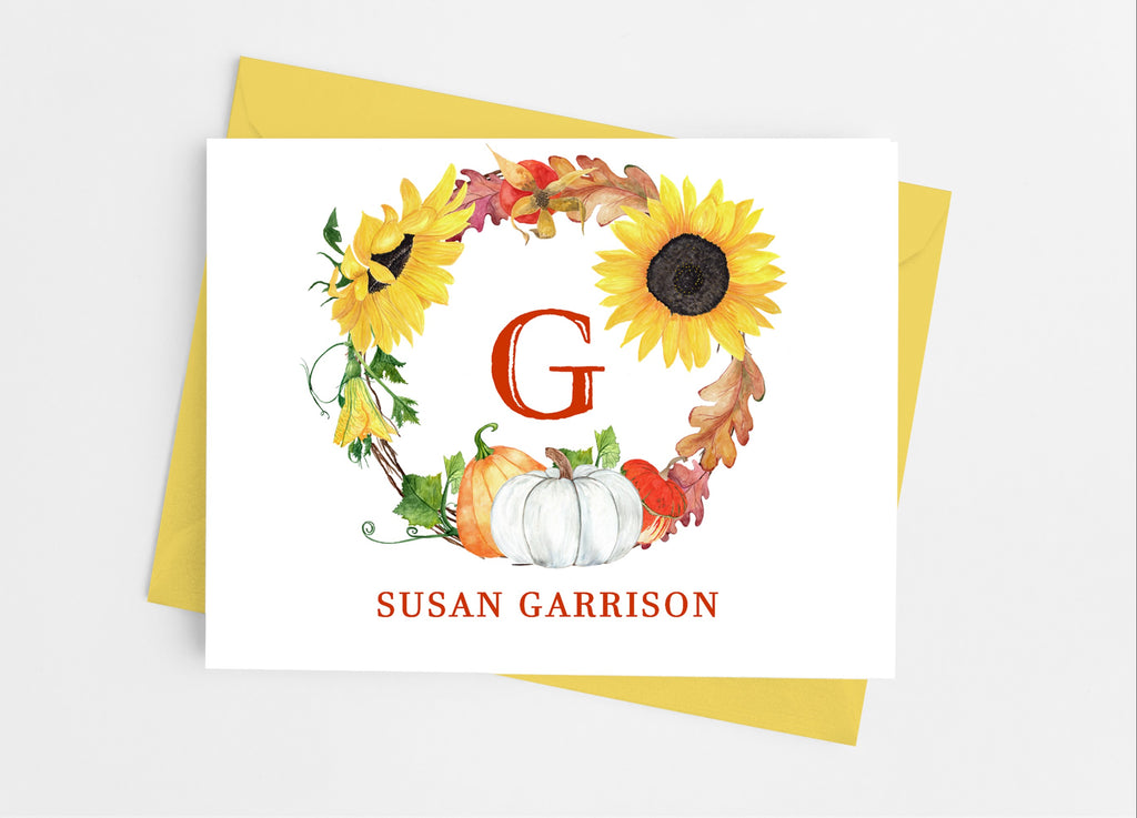 Sunflower and Pumpkin Monogram Note Cards - Cathy's Creations - www.candywrappershop.com
