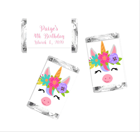 Unicorn Face Mini Candy Bar Wrappers - Cathy's Creations - www.candywrappershop.com
