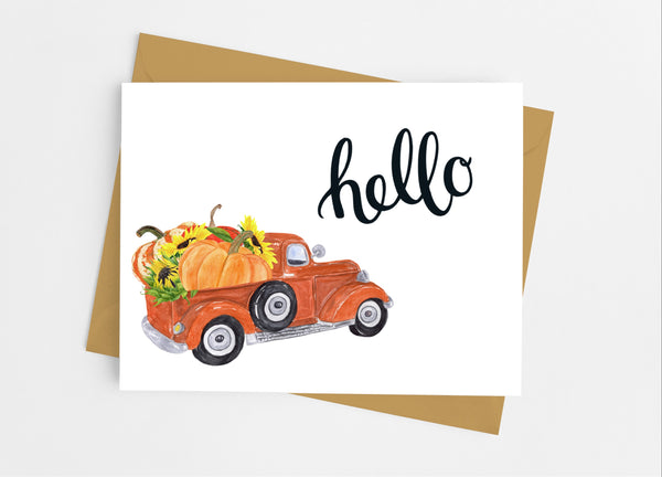 Pumpkin Pick Up Truck Note Cards - Cathy's Creations - www.candywrappershop.com