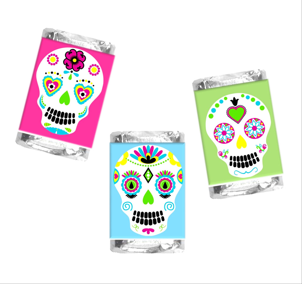 Sugar Skull Mini Candy Bar Wrappers - Cathy's Creations - www.candywrappershop.com