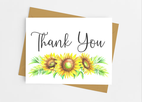 Sunflower Thank You Cards-Note Cards-Cathy's Creations - www.candywrappershop.com