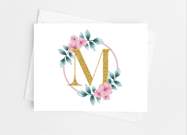 Floral Single Initial Note Cards - Cathy's Creations - www.candywrappershop.com