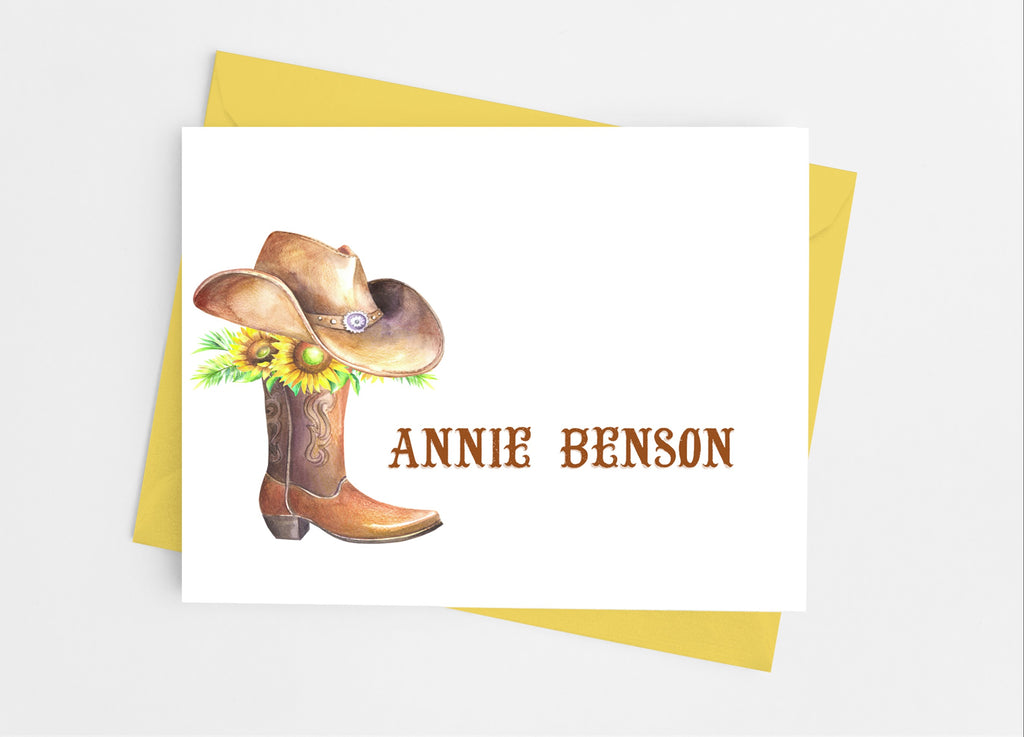 Rustic Cowgirl Note Cards - Cathy's Creations - www.candywrappershop.com