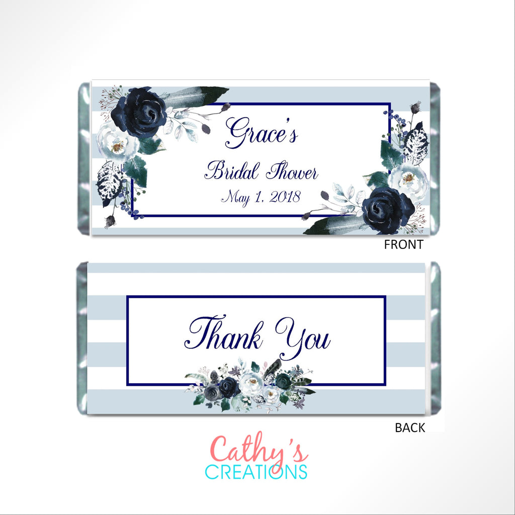 Navy Floral Boho Candy Bar Wrapper - Cathy's Creations - www.candywrappershop.com