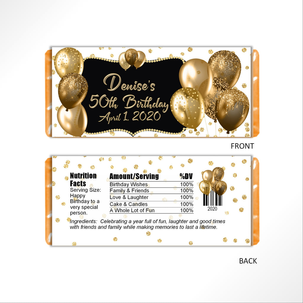 Gold Balloons Candy Bar Wrapper - Cathy's Creations - www.candywrappershop.com
