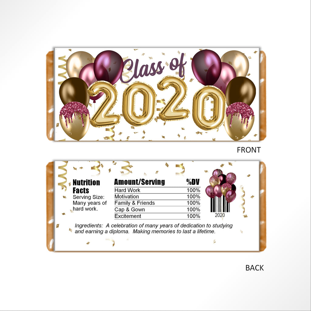 Burgandy and Gold Graduation Balloons Candy Bar Wrapper - Cathy's Creations - www.candywrappershop.com