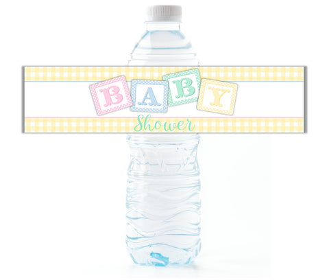Baby Shower Water Bottle Labels - Cathy's Creations - www.candywrappershop.com