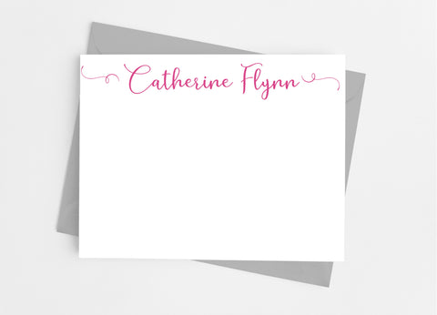 Personalized Stationery Flat Note Cards - Playful Flourish Script Flat Stationery Cards- Cathy's Creations - www.candywrappershop.com