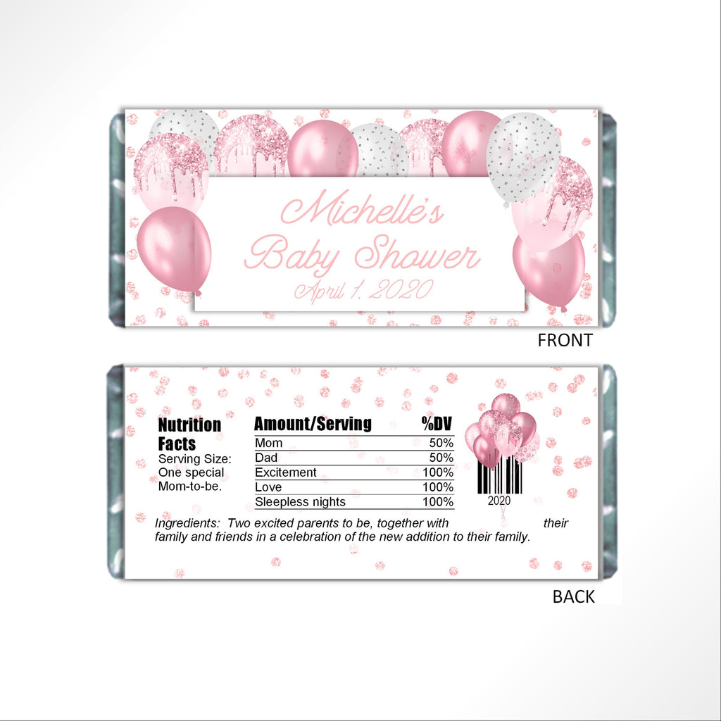 Pink Balloons Candy Bar Wrapper - Cathy's Creations - www.candywrappershop.com