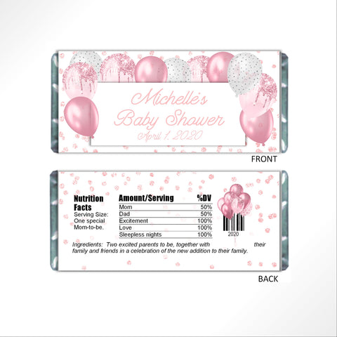 Pink Balloons Candy Bar Wrapper-Candy Bar Wrapper-Cathy's Creations - www.candywrappershop.com