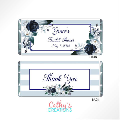 Navy Floral Boho Candy Bar Wrapper-Candy Bar Wrapper-Cathy's Creations - www.candywrappershop.com