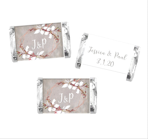 Romantic Rustic Floral Wedding Mini Candy Bar Wrappers - Cathy's Creations - www.candywrappershop.com