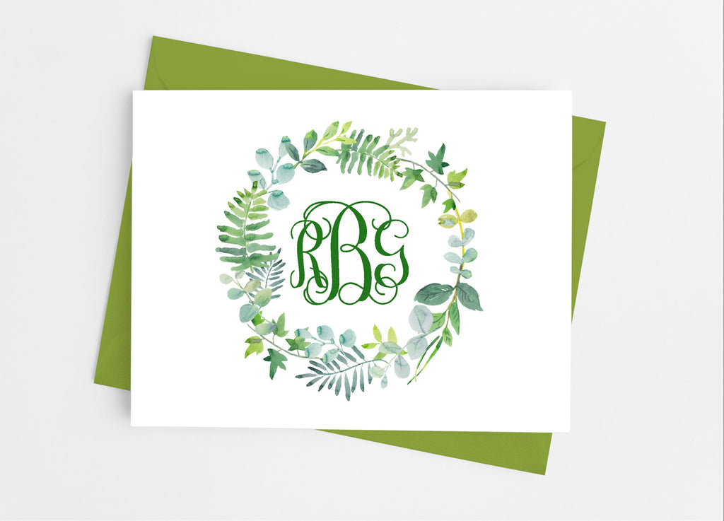 Botanical Greenery Monogram Note Cards - Cathy's Creations - www.candywrappershop.com