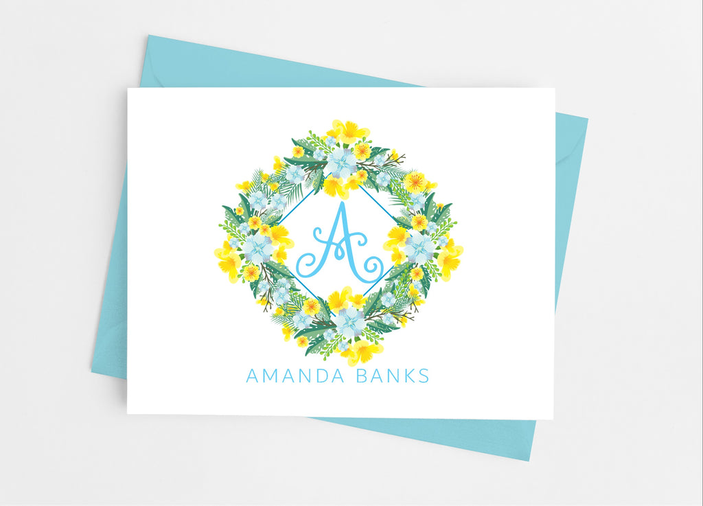 Blue and Yellow Single Initial Note Cards - Cathy's Creations - www.candywrappershop.com